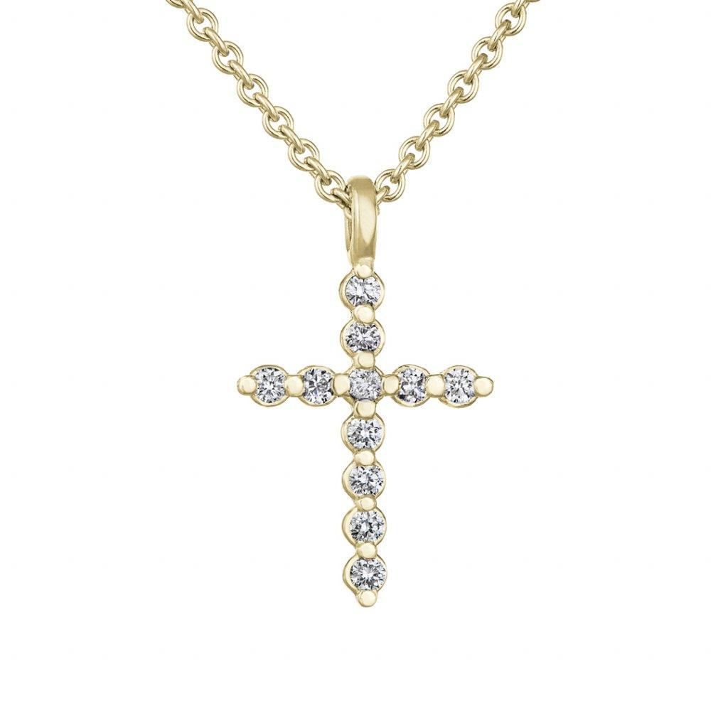 Dámský přívěsek ze žlutého zlata s lab-grown diamanty Little CrossLittle Cross Ž 1