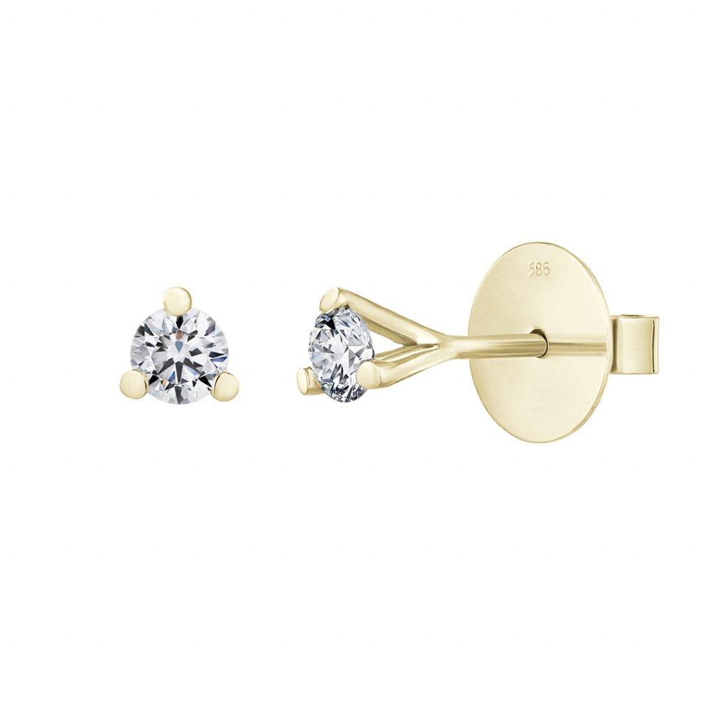 Náušnice ze žlutého zlata s lab-grown diamanty Magic Stone