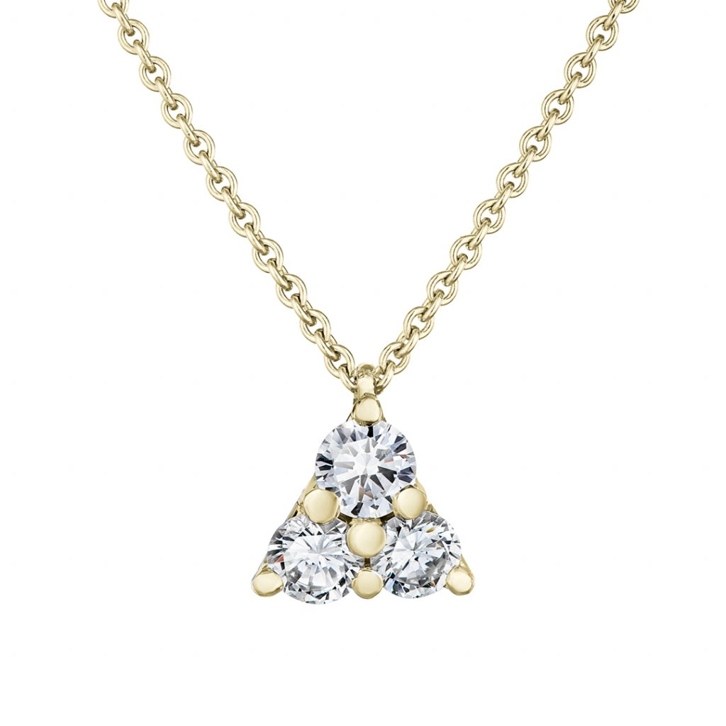 Přívěsek ze žlutého zlata s lab-grown diamanty Magic Triangle