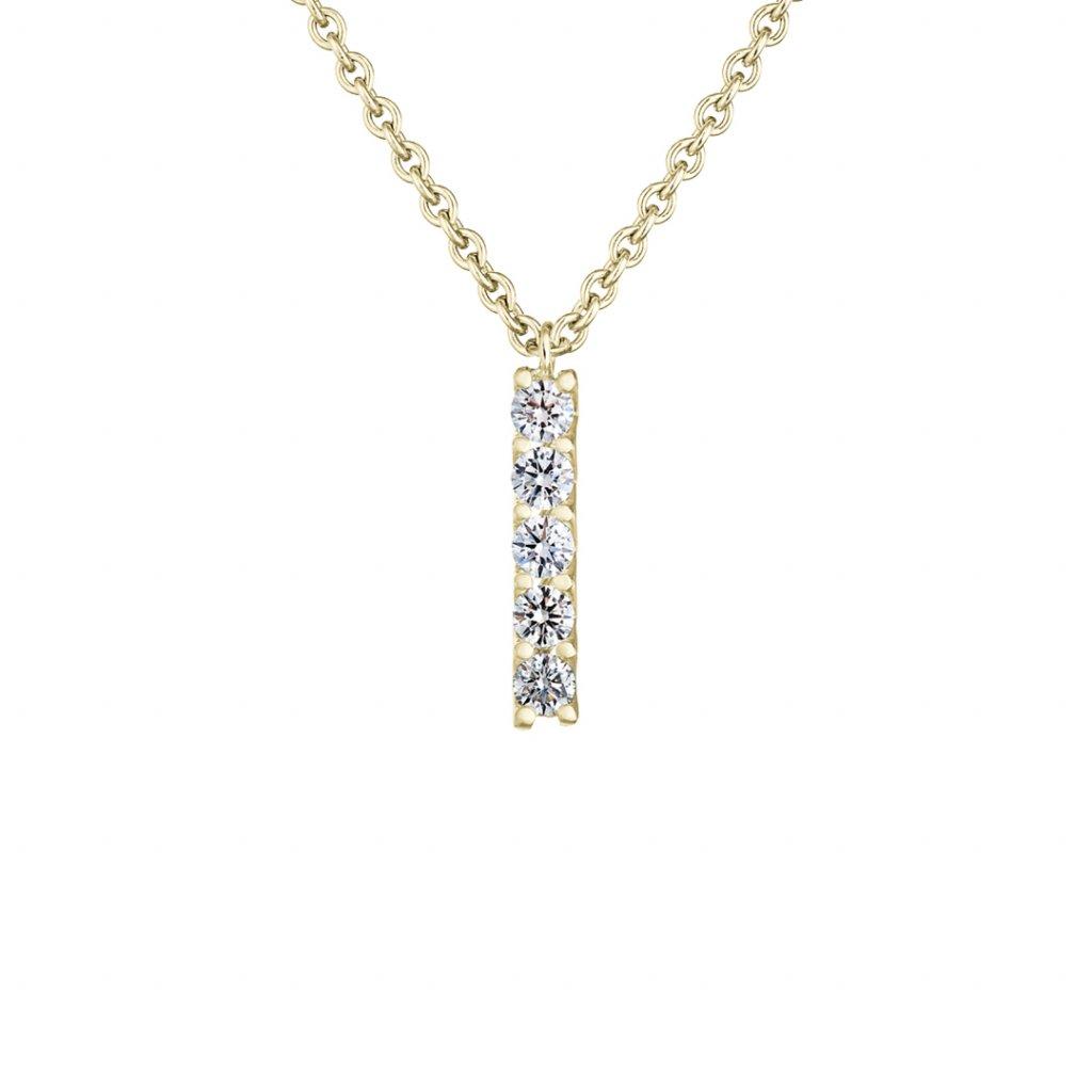 Přívěsek zežlutého zlata slab-grown diamanty Pure Line 5