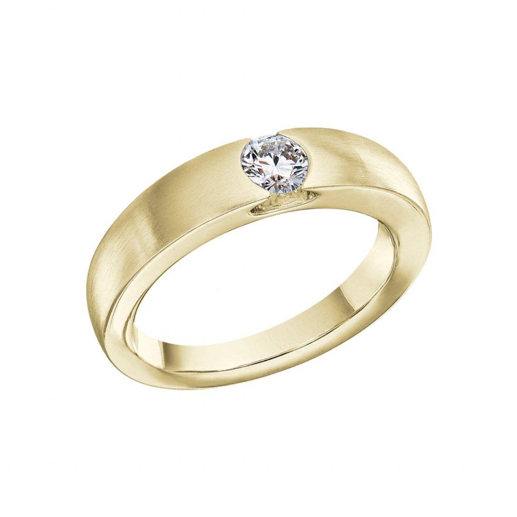 Prsten ze žlutého zlata s lab-grown diamanty Levitation