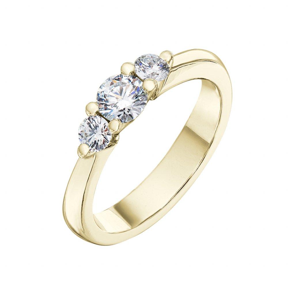 Prsten zežlutého zlata slab-grown diamanty Pure Line 3