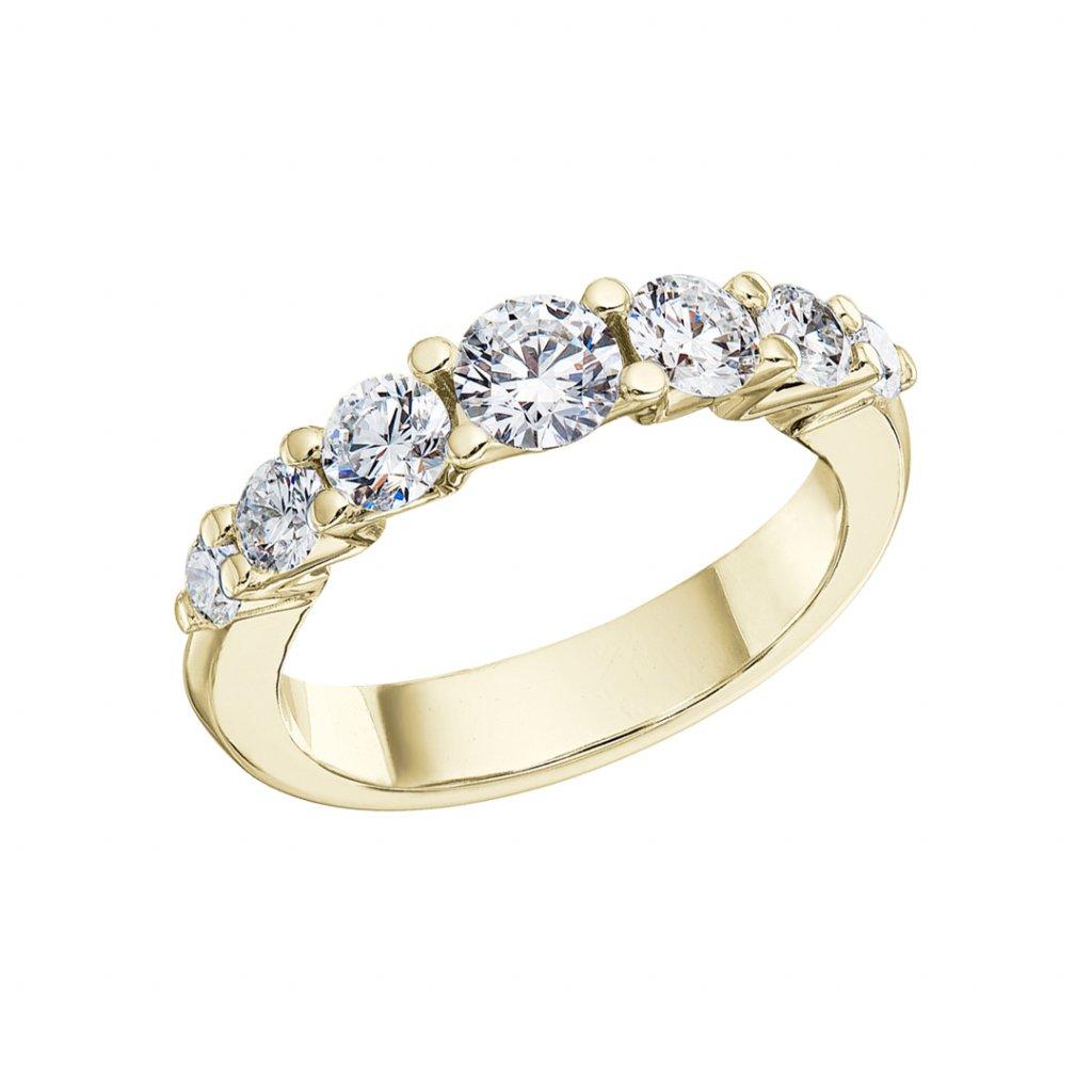 Prsten zežlutého zlata slab-grown diamanty Pure Line 7