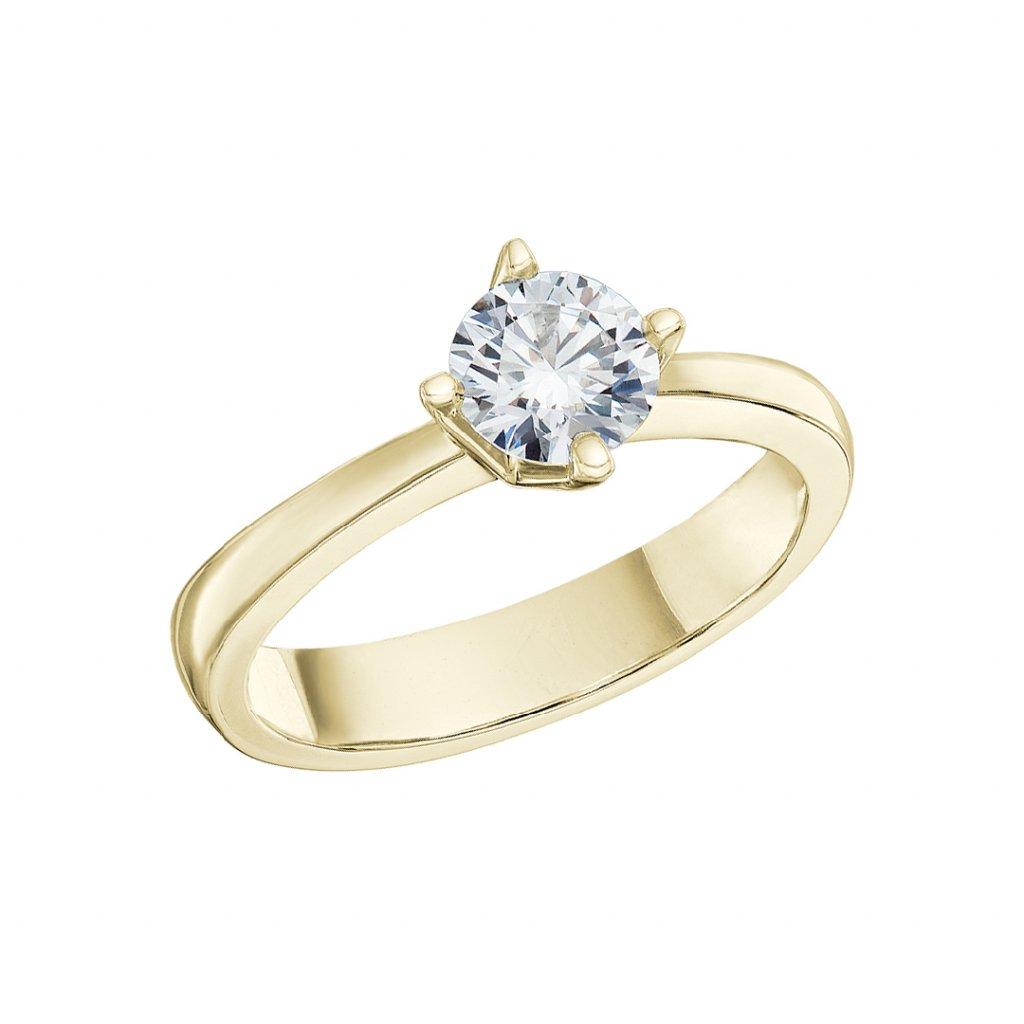 Prsten ze žlutého zlata s lab-grown diamantem Pure Line Cross