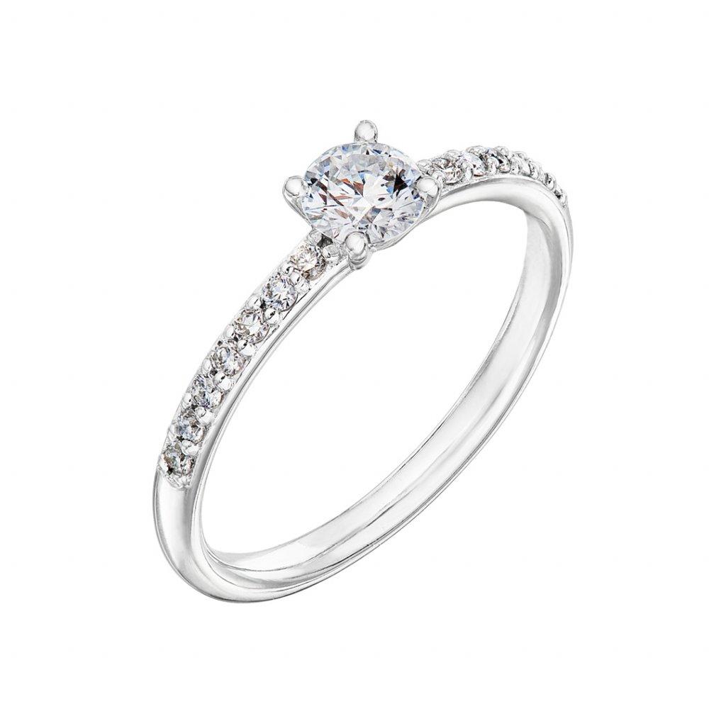 Zásnubní prsten zbílého zlata s lab-grown diamanty Princess