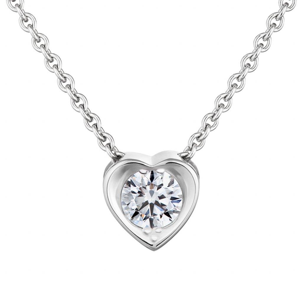 Přívěsek z bílého zlata s lab-grown diamanty Pure Love