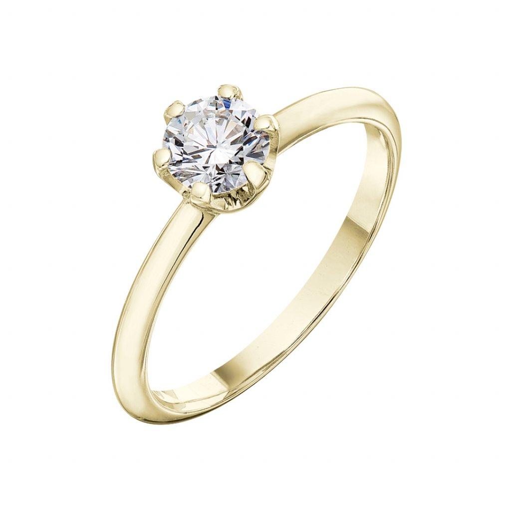 Prsten ze žlutého zlata s diamantem Harmony