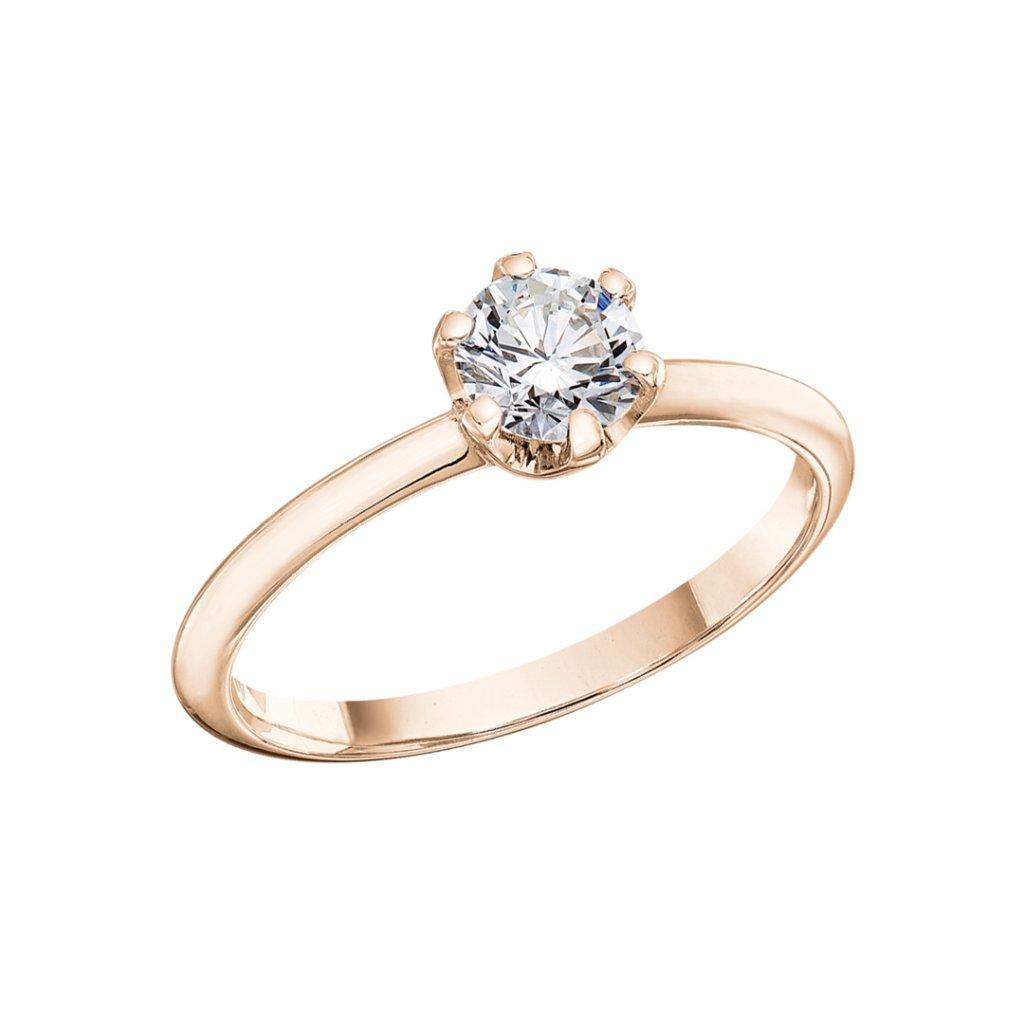 Prsten z růžového zlata s lab-grown diamantem Harmony