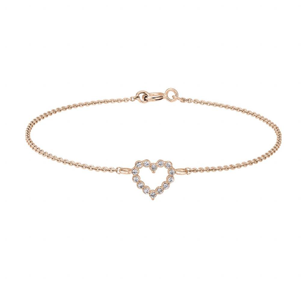 Náramek z růžového zlata Little Heart s diamanty