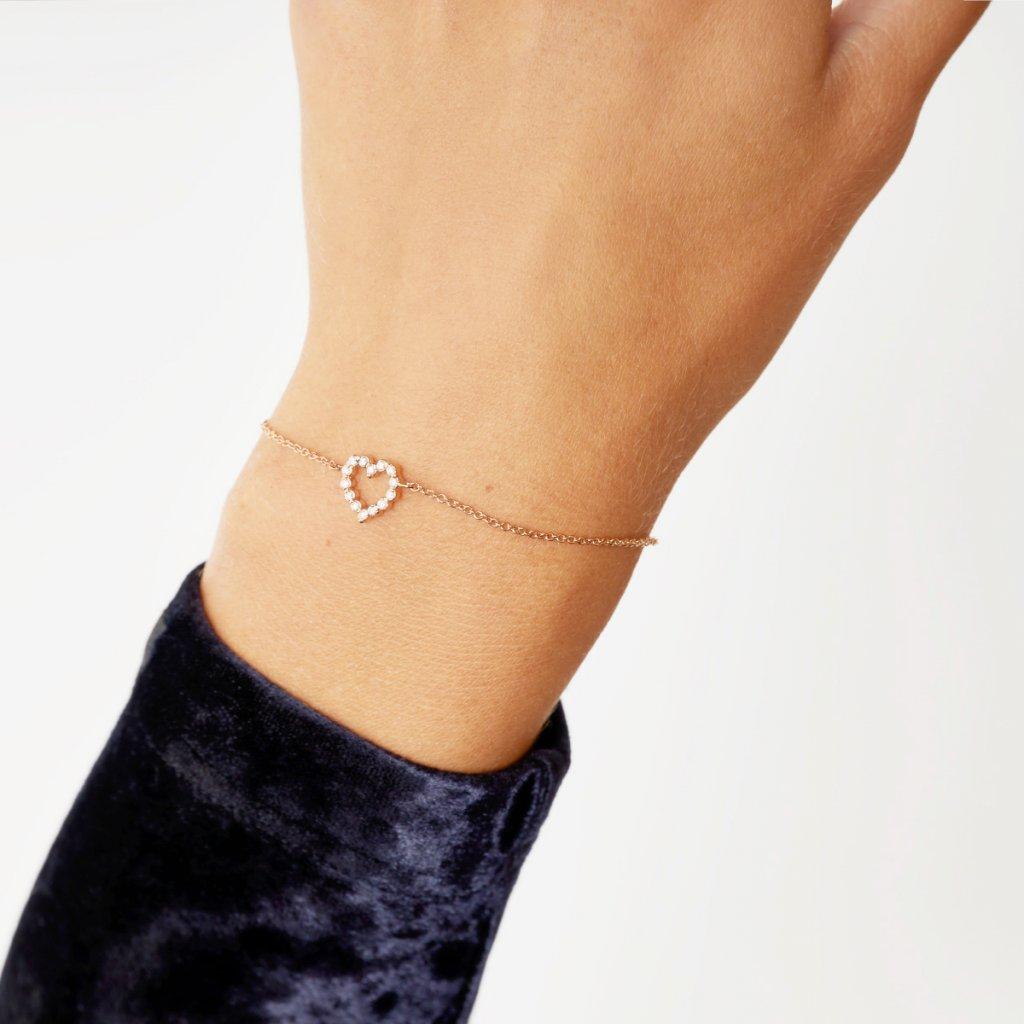Náramek z růžového zlata Little Heart s diamantyMG 9912 srdce gold