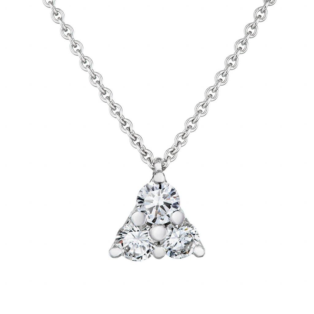 Přívěsek z bílého zlata s lab-grown diamanty Magic Triangle
