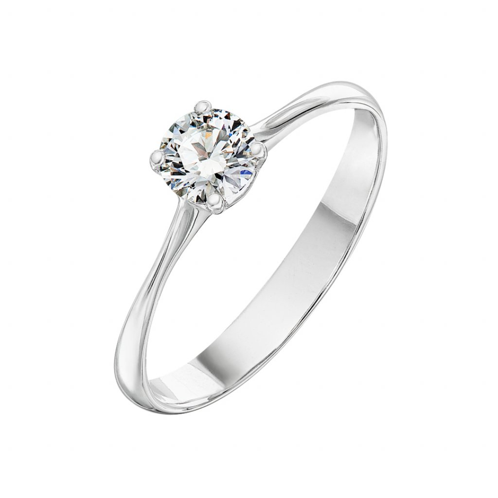Prsten z bílého zlata s diamantem Atea