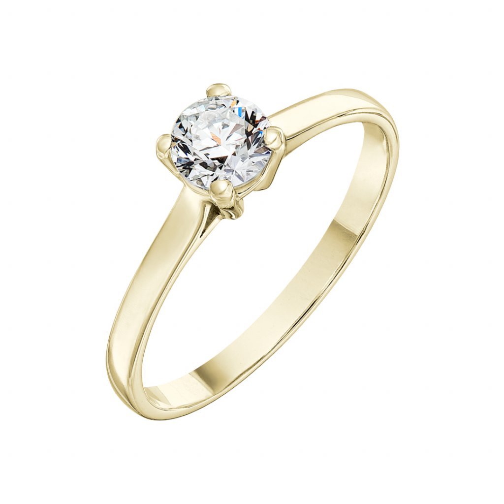 Prsten ze žlutého zlata s diamantem Grace