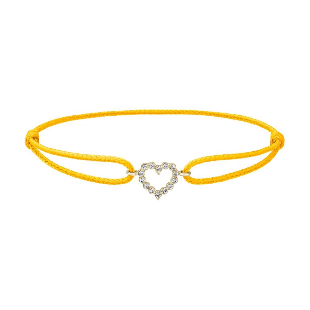 Provázkový náramek Little Heart ze žlutého zlata s diamanty