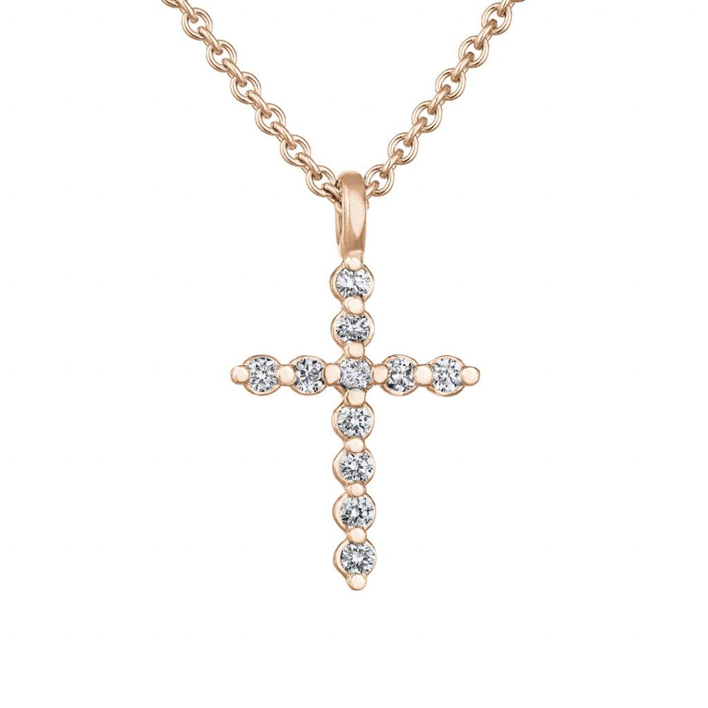 Přívěsek z růžového zlata s diamanty Little Cross