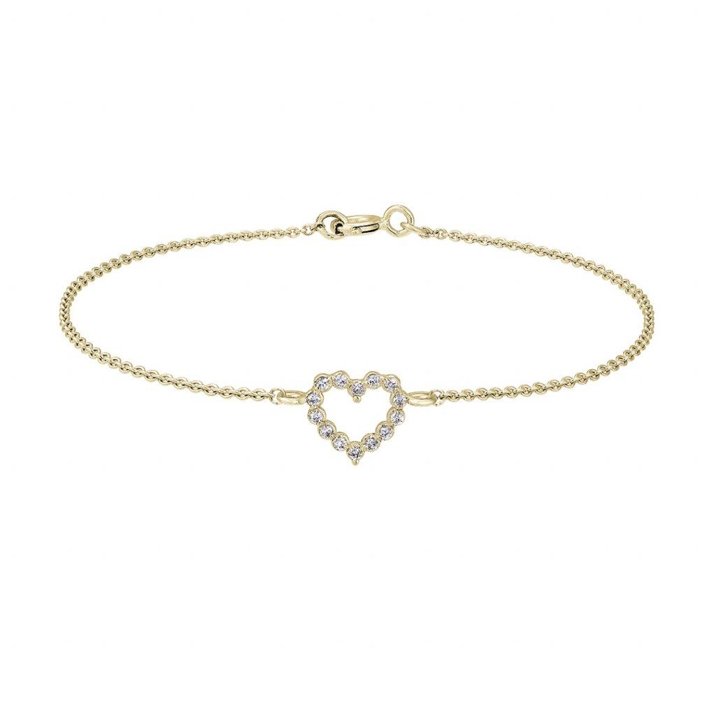 Náramek ze žlutého zlata Little Heart s diamanty