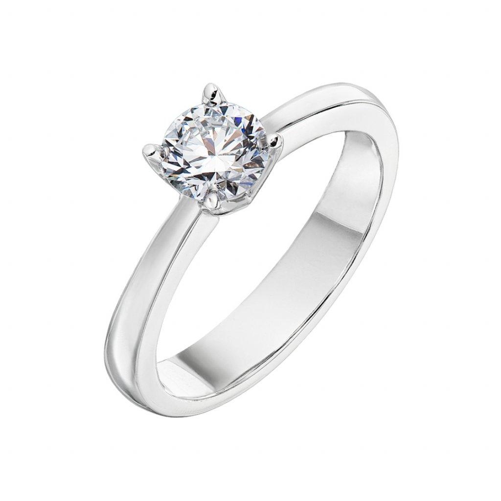 Zásnubní prsten z bílého zlata s lab-grown diamanty Pure Line One