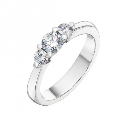 Prsten zbílého zlata s diamanty Pure Line 3