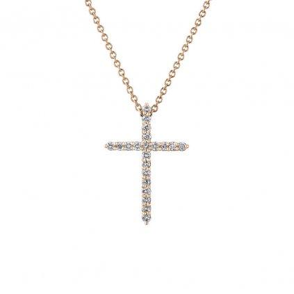 Přívěsek z růžového zlatas lab-grown diamanty PureCross, small