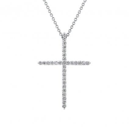 Přívěsek z bílého zlatas lab-grown diamanty PureCross, medium