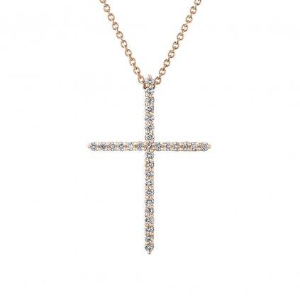 Přívěsek z růžového zlatas lab-grown diamanty PureCross, medium