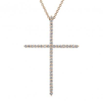 Přívěsek z růžového zlatas lab-grown diamanty PureCross, large