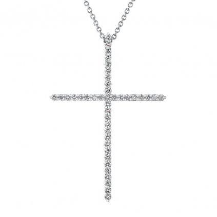 Přívěsek z bílého zlatas lab-grown diamanty PureCross, large