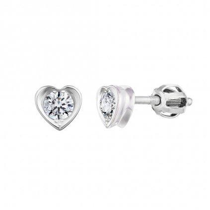 Náušnice z bílého zlata s diamanty Pure Love