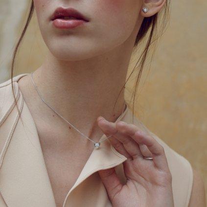 Náušnice z bílého zlata s lab-grown diamanty Pure Love