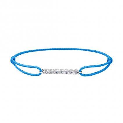 Provázkový náramek Pure Line zbílého zlata a lab-grown diamanty, modrý