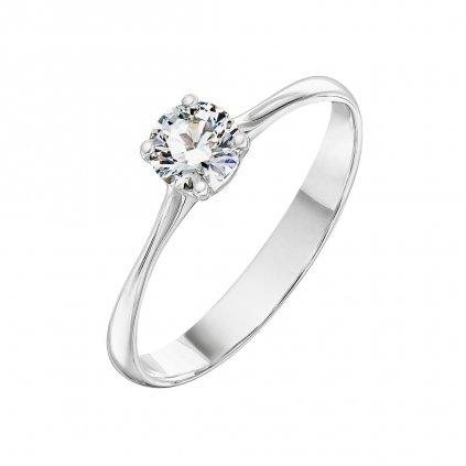 Zásnubní prsten zbílého zlata slab-grown diamanty Atea