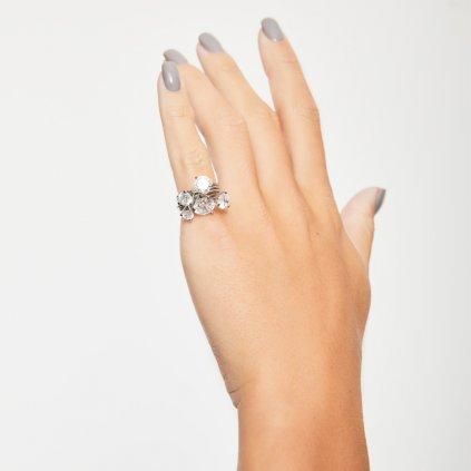 Briliantový prsten zbílého zlata slab-grown diamanty Shining Star