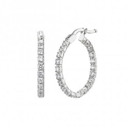 Diamantové kruhové náušnice Brilliant zbílého zlata s lab-grown diamanty  - malé