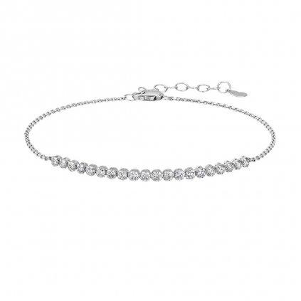 Řetízkový náramek zbílého zlata s diamanty Brilliant Line