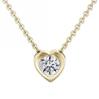 Přívěsek ze žlutého zlata s diamantem Pure Love 0,33 ct