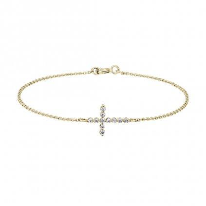 Náramek ze žlutého zlata slab-grown diamanty Little Cross