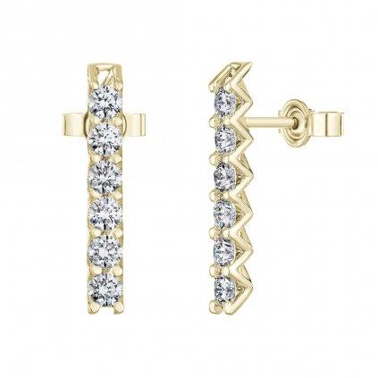 Náušnice zežlutého zlata slab-grown diamanty Pure Line 6