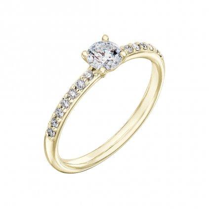 Prsten zežlutého zlata s lab-grown diamanty Princess