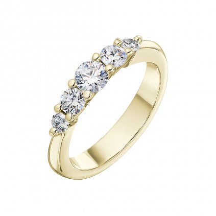 Prsten ze žlutého zlata s lab-grown diamanty Pure Line 5