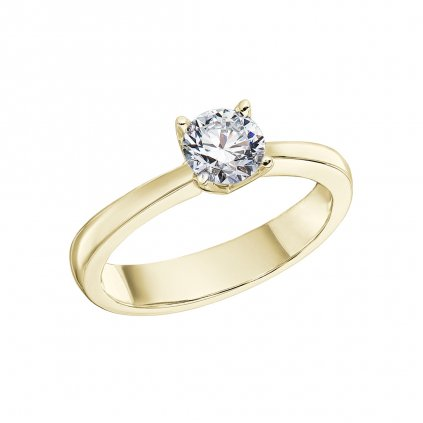 Prsten ze žlutého zlata s lab-grown diamantem Pure Line One