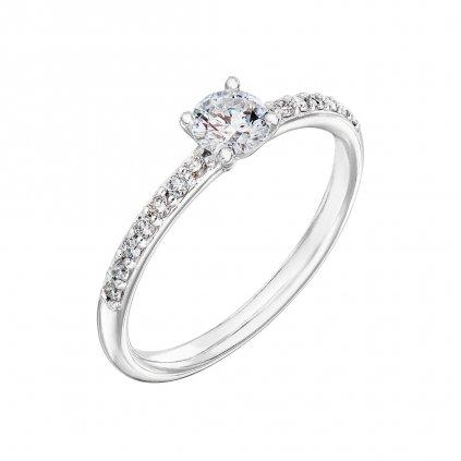 Prsten z bílého zlata s diamanty Princess