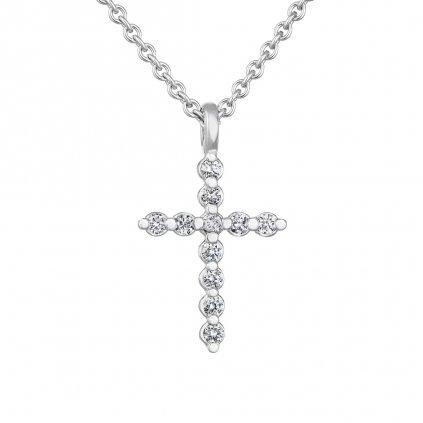 Přívěsek z bílého zlata s diamanty Little Cross