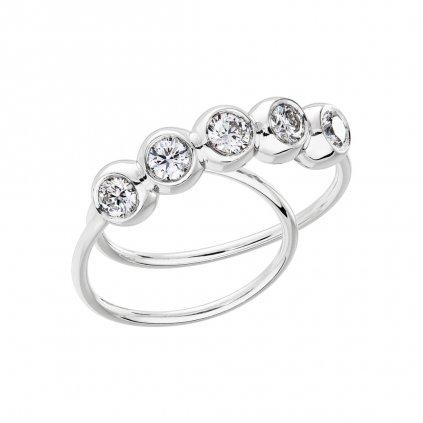 Prsten zbílého zlata s lab-grown diamanty COOOLATE 5