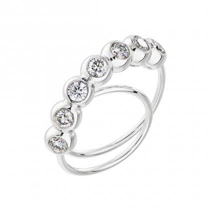 Prsten zbílého zlata s lab-grown diamanty COOOLATE 7