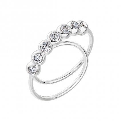 Prsten zbílého zlata s lab-grown diamanty COOOLATE 7 midi