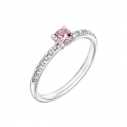 Prsten zbílého zlata s růžovým diamantem Princess