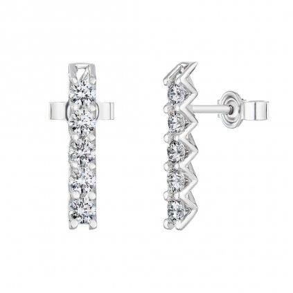 Náušnice zbílého zlata sdiamanty Pure Line 5