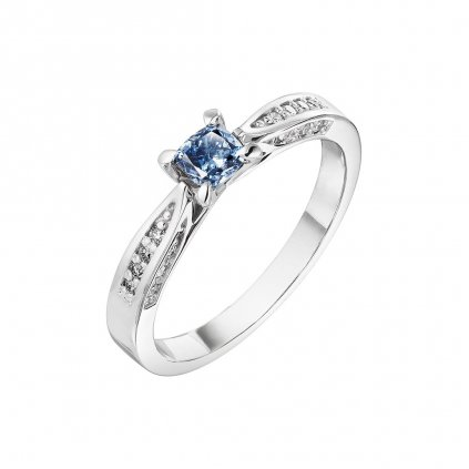 Prsten z bílého zlata s diamanty Blue Element