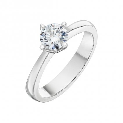 Prsten z bílého zlata s diamantem Pure Line Cross