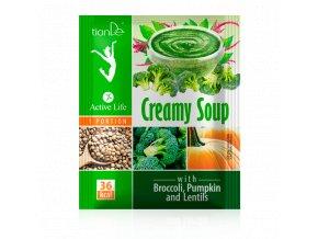 Krémová polévka s brokolicí, dýní a čočkou  (Body: 1,10)